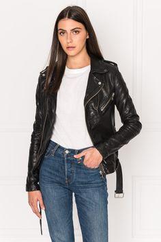 887ae78b8d KIYOSHI Black Leather Belted Biker Jacket