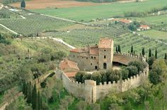 This castle dates back to about 800 AD & is of solid stone construction, located on a hilltop with panoramic views over Lake Trasimeno close to the Tuscan city of Cortona in beautiful Italy