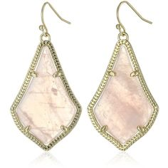 Kendra Scott Gold and Rose Quartz Alex Drop Earrings ($55) ❤ liked on Polyvore featuring jewelry, earrings, fake earrings, gold tone jewelry, leaf earrings, yellow gold drop earrings and fish hook earrings