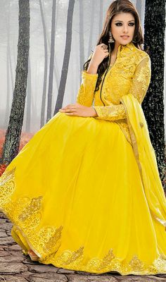 Yellow Georgette and Net Long Length Anarkali Suit  Be center of attention with this yellow georgette and net long length Anarkali suit. This gorgeous attire is showing some remarkable embroidery done with lace, patch, resham and stones work. #BuyAnarkaliStyleSuits #BuyNewArrivalsChudidarSuits