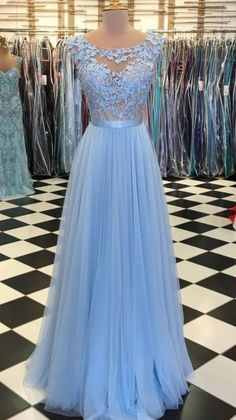 On Sale Suitable Long Bridesmaid Dresses Blue Round Neck Tulle Lace Applique Long Prom Dress, Blue Tulle Bridesmaid Dress Grad Dresses Long, Prom Dresses Blue, Cheap Prom Dresses, Formal Evening Dresses, Homecoming Dresses, Dress Long, Evening Gowns, Dress Prom, Party Dresses