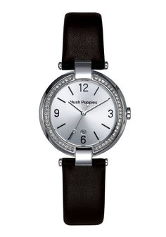Hush Puppies Orbz Women's Automatic Watch with Silver Dial Analogue Display and Black Leather Strap HP.3672L.2502: Amazon.co.uk: Watches