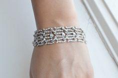 Silver Lattice Bracelet  Voile Cuff Bracelet  Cubic by barargent