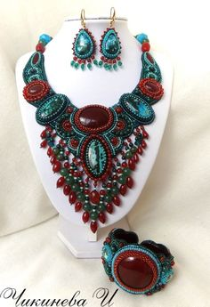 "Set ""Nauru"" - Chikineva Gallery -  Irina Chikineva lives and creates jewelry in Moscow. Works with stones, beads and fur."