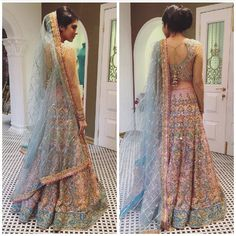 can we take a minute and appreciate this beauty *sigh*. i m totally in love with this powder blue and peach lehanga. Pakistani Bridal Couture, Indian Bridal Fashion, Bridal Lehenga, Asian Fashion, Lehenga Choli, Anarkali, Blue Wedding Dresses, Indian Wedding Outfits, Indian Outfits