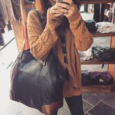Olive and Oak Peanut Brittle sweater, Adeline Tote by Will Leather Goods and necklace by Zacasha