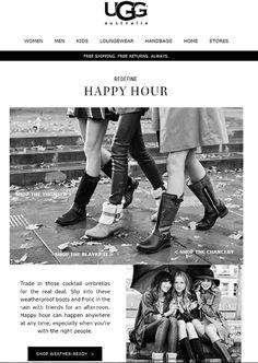 """Sub: """"Time for a rain dance. Weatherproof boots are here"""" Il brand UGG è riuscito a far apparire divertente anche un giorno di pioggia! Da prendere come spunto :-)"""