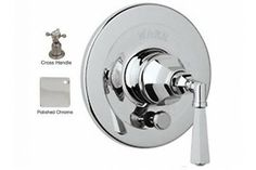Rohl A2900XMAPC Palladian Cross-Handle Pressure Balance Trim With Diverter in Polished Chrome