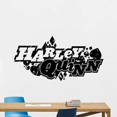 Harley Quinn Logo Wall Decal Marvel Joker Comics Superhero Vinyl Sticker Wall Decor Cool Wall Art Kids Teen Girl Room Wall Design Modern Bedroom Wall Decor Mural 160zzz -- Check this awesome product by going to the link at the image.Note:It is affiliate link to Amazon.