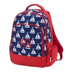 5e198c4ec7e0 Red white and blue patriotic nautical saiboat monogrammed backpack bookbag Preschool  Backpack