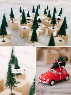 tree on car - idea for place setting card.  Original post: Christmas Love: Inspired by Tradition