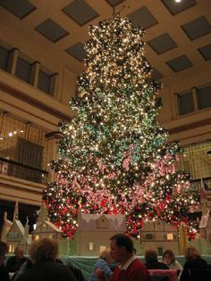 My family Christmas Tradition Brunch under the Giant Christmas Tree at the Walnut Room in Marshall Fields aka Macy's Chicago