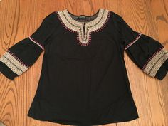 Lucky Brand Black Embroidered Gypsy Peasant Style Shirt Top sz Large L #LuckyBrand #PeasantTopBoho