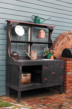 outdoor potting bench with sink plans