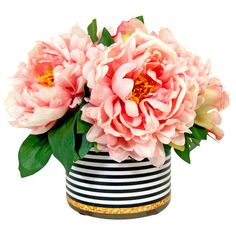 Spring Additions Peony in Striped Pot Reviews (€63) ❤ liked on Polyvore featuring home, kitchen & dining and serveware
