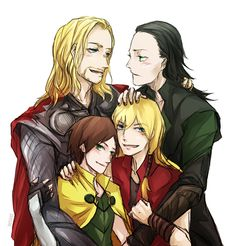 "ORIGINAL PINNER:Thorki x 2 by resave.deviantart.com on @deviantART There be-ith a ""Thor: Tales of Asgard"" reference!"