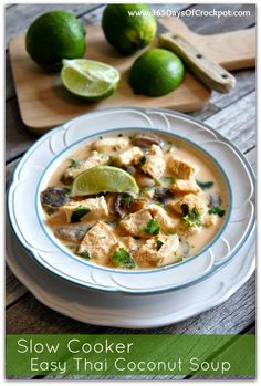 Slow Cooker Recipe for Easy Thai Coconut Soup with Lemongrass #soup #thai #crockpot