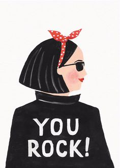 Hey, You Rock Greetings Card by Jade Fisher #illustration