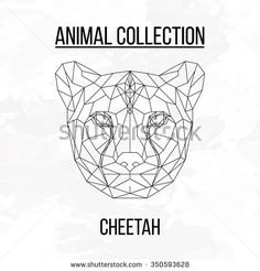 Cheetah head geometric lines silhouette isolated on white background vintage design element picture