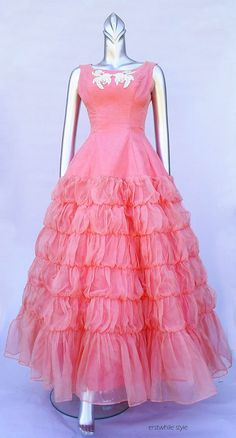 Sophia pink ruffle tulle gown 1950s pink party by ErstwhileStyle