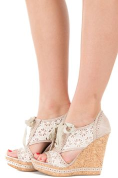 Lime Lush Boutique - Cream Embellished Wedge with Lace Detail, $59.99 (http://www.limelush.com/cream-embellished-wedge-with-lace-detail/)
