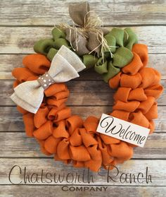 Pumpkin Burlap Wreath Welcome Door Wreath by ChatsworthRanchCo