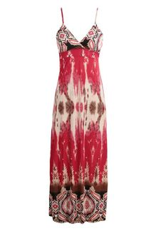 Cheap Bohemian Print Spaghetti Strap Padded Beach Red Maxi Dress for Sale - Chicuu.com