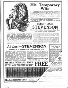 "Advertisement for the 25 volumes of The Works of Robert Louis Stevenson published by Scribners in their Thistle edition.  Found in ""Asia, the American Magazine on the Orient,"" Vol. XXIII, No. 2. February, 1923.     Image by katinthecupboard, via Flickr"