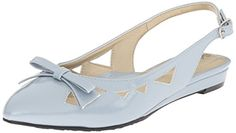 Soft Style By Hush Puppies Womens Deni Flat Blue FogPearlized Patent 85 W US * Check this awesome product by going to the link at the image. Note:It is Affiliate Link to Amazon.