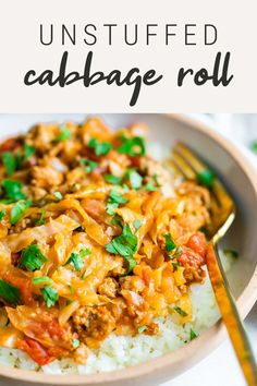 These unstuffed cabbage rolls taste just like the traditional recipe with a fraction of the effort. Lightened up with ground turkey and served over cauliflower rice for a low-carb meal.  #cabbageroll #cabbage #groundturkey #eatingbirdfood #lowcarb #cauliflowerrice Pork Recipes, Vegetarian Recipes, Cooking Recipes, Healthy Recipes, Unstuffed Cabbage Rolls, Roll Eat, Veggie Heaven, Low Carb Dinner Recipes, High Protein Recipes