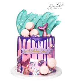 Call or email to order your mermaid drip cake today! Cupcake Wars, Cupcake Cookies, Cupcakes, 40th Cake, Birthday Cake, Macaron Cake, Macarons, Cakes Today, Mermaid Cakes