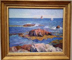 Rocks and Lighthouse - William Glackens, 1908  de Young museum, San Francisco, CA  http://deyoung.famsf.org. #glackens