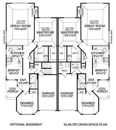 ATTERBURY DUPLEX House Plan 5283 - 2 Bedrooms and 2 Baths | The ...