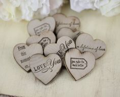 Rustic Wedding Favors Wood Heart Magnets Set of 50