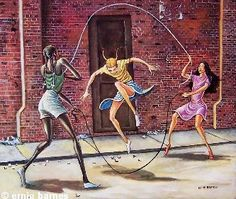 Double Dutch is a work of art by Ernie Barnes depicting a trio of girls each of a different ethnicity double-dutching with a pair of jump ropes. Black Love Art, Black Girl Art, Art Girl, African American Artwork, African Art, Ernie Barnes, Black Art Pictures, Black Artwork, Afro Art