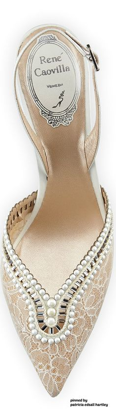 Rene Caovilla wedding shoe with pointed toe and trimmed in faux pearls, T. …