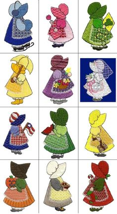 4 X 4 Sunbonnets Of The MonthYou can find Sunbonnet sue and more on our X 4 Sunbonnets Of The Month Quilt Block Patterns, Applique Patterns, Applique Quilts, Applique Designs, Embroidery Applique, Sewing Appliques, Machine Embroidery Designs, Embroidery Thread, Girls Quilts