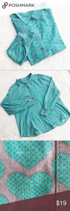 CASLON Teal Mint Heart Printed Button-Down Shirt Gray & teal mint heart printed button down shirt. There is a small flaw on the both right as shown. ✨OFFERS WELCOME✨ Caslon Tops Button Down Shirts