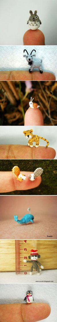 tiny crochet animals :) these guys are amazing. I would need 6 prs of reading glasses stacked all on my nose to see these tiny guys!! Idk how to do this--but So cute!!