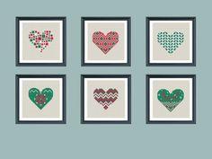 set of 6 modern christmas cross stitch pattern от Happinesst