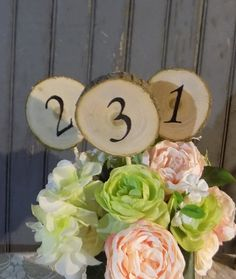 12 Rustic Table Numbers  Log Slice Table Numbers   by GFTWoodcraft