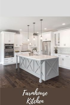 I love the island bar in this farmhouse kitchen with the glass pendant lights hanging above. The subway tile adds a nice modern twist. #ad #kitchenarquitecture