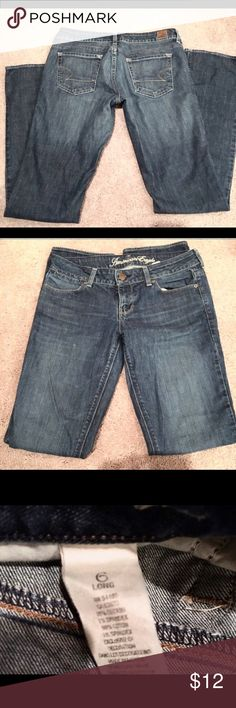 American Eagle Jeans Excellent condition very little use, 6 regular long straight leg, slight boot cut, low rise AE jeans. American Eagle Outfitters Jeans