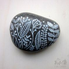 hand painted beach pebble by blau on Etsy, $8.00
