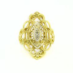 10k Yellow Gold Filigree Ring  Size 6.5 #UniQJewels