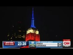 April 19, 2016: @Cnn anchors explain how the Empire State Building's tower lights would represent the projected winners of the New York Presidential Primary during a live results broadcast.