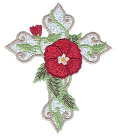 Cross with Poppy Embroidery Design | AnnTheGran