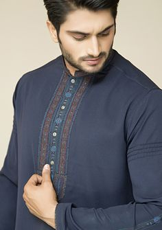 Amir Adnan men`s fashion. Fabric gorgeout complete shalwar suit in ink blue
