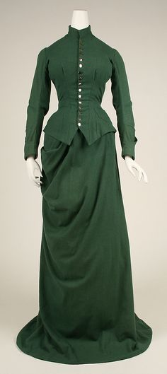 Riding Habit  Date: ca. 1875 Culture: American Medium: wool (Caroline had a very similar dress, brown instead of green)