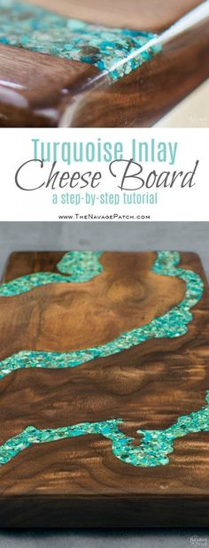 Turquoise Inlay Cheese Board | Handmade cutting board | How to make a cutting board | How to make a cheese board | Step-by-step tutorial for handmade cheese board using walnut and turquoise stone | Cheese board with turquoise inlay | DIY stone inlay | How to inlay turquoise stone | DIY walnut cutting board | DIY walnut cheese board | DIY crushed turquoise inlay | How to crush turquoise for inlay | DIY home decor | DIY kitchen decor | Woodworking & diy | How to apply food safe...